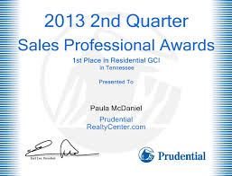 Paula Mcdaniel 1st Place Top Sales In Tn For Residential Gci