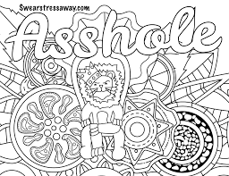 Cool Asshole Swear Word Coloring Page Adult Coloring Page Free