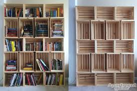 diy crate bookshelf with books and without books