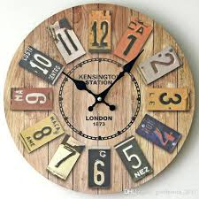 rustic wood wall clock whole handmade retro decorative luxury art wooden vintage large on the for