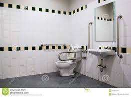 Handicap Bathroom With Grab Bars And Ceramic Tile Stock Photos - Handicap bathroom