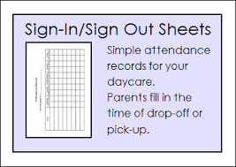 daycare sign in and out sheet free daycare forms