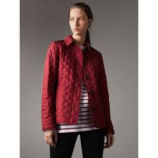 Diamond Quilted Jacket in Parade Red - Women | Burberry United States & Diamond Quilted Jacket in Parade Red - Women | Burberry United States -  gallery image 4 Adamdwight.com