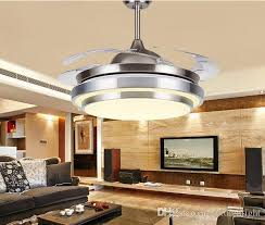ceiling fans with lights for living room. 2017 31 8/9 modern chrome round shaped led ceiling fan lights with foldable invisible blades 100 240v fans light from autoledlight, for living room h