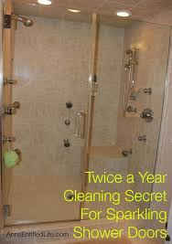 awesome twice a year cleaning secret for sparkling shower doors only clean in shower door cleaner