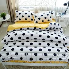 modern chic black white and bright yellow polka dot print boutique elegant girls 100 cotton twin full queen size bedding sets