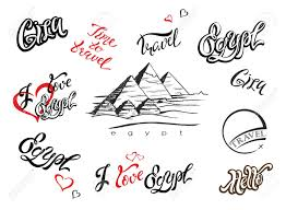 Lettering Templates Egypt Set Of Elements For Design Giza Pyramid Sketch Hand