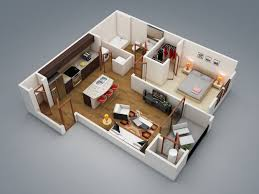 Apartments : Excellent one bedroom house design ideas with small terrace  and clothes storage picture - a part of Fascinating 1 Bedroom Apartment/House  Plans