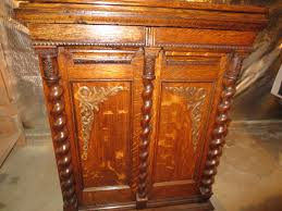 Dmc Thread Cabinet Early 1900s Oak Treadle Parlor Sewing Machine Cabinet After
