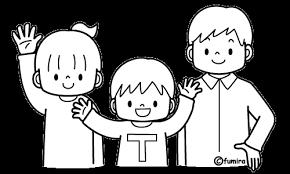 3人兄弟のイラストぬりえ 子供と動物のイラスト屋さん わたなべふみ