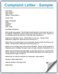 Letter Of Complaints Sample Complaints Letters Samples Scrumps