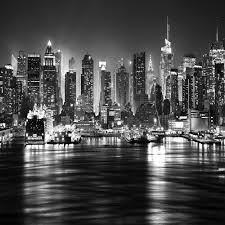 new york city at night skyline view black white wallpaper mural photo giant wall poster decor art co uk diy tools