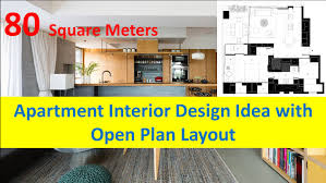 80 Square Meters Apartment Interior Design Idea with Open Plan Layout -  YouTube