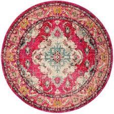 monaco pink multi 9 ft x 9 ft round area rug