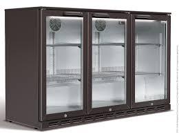 husky 3 door black commercial bar fridge angle