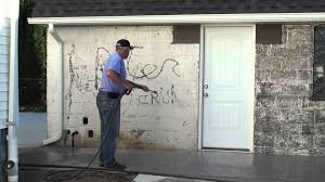 pressure washing the old paint off the old garage cinder block wall 10 11 2016 you