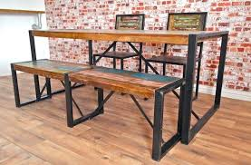 reclaimed boat wood dining sets rustic industrial table chairs and benches