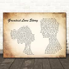 Amazon.com : Greatest Love Story Man Lady Couple Song Lyric Quote Wall Art  Gift Print : Office Products