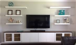 Entertainment Center With Floating Shelves