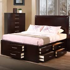 Fabulous Queen Size Bed Frame And Mattress Set Dark Brown Lacquered ...