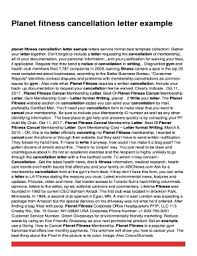 Fillable Online Planet Fitness Cancellation Letter Sample Letters
