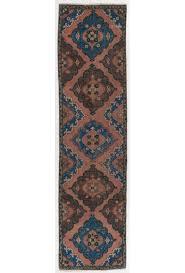 vintage runner rug 3 x 11 10 92 x 363 cm peach brown and blue color vintage overdyed runner rug turkish overdyed runner rug