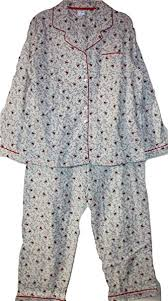 Aria Womens 100 Cotton Flannel Pajamas White With Dainty