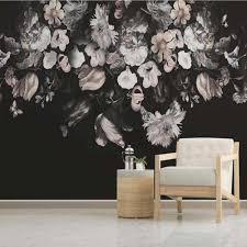 Dunkle Farbe Vintage Schwarz Und Weiß Floral Tapeten
