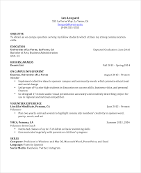 Examples Of Student Resumes 16 Undergraduate Student Resume Example