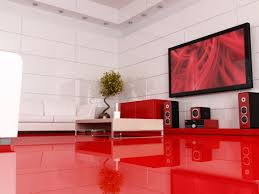 Red Floor Tiles For Kitchen Decoration Elegant Purple Kitchen Set Paired With Acrylic Dining
