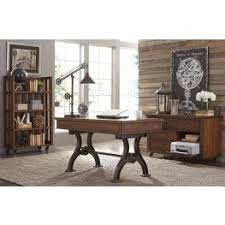 home office set. arlington house cobblestone brown home office set