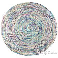 purple round colorful boho woven jute chindi braided area decorative rag rug 4 ft