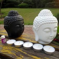 Buddha Head Decor Buddha Head Aromatic Oil Burner Ceramic Aromatherapy Lamp Candle