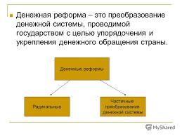 Презентация на тему Денежные реформы План Сущность виды и  3 Денежная