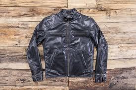 shangri la heritage cafe racer black leather jacket