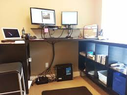 Standing Desk Chair Ikea. stand up desk chair ikea. ikea sit stand ...  Furniture U Shaped Espresso Wooden Cabinet And Table Integrated With  Rectangle Black ...