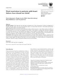 Pdf Fluid Restriction In Patients With Heart Failure How