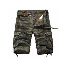 Mens Casual Plaid Cotton Cargo Shorts Fit Shorts With Pockets Zipper Shorts