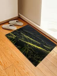 terraced fields landscape floor runner rugs door mat dark forest green w20 inch l31