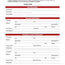 Employee Emergency Contact Form Template 47 Printable Employee Information Forms Personnel