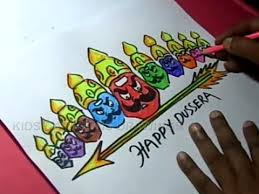 Dussehra Charts For School How To Draw Dussehra Greeting Drawing Step By Step