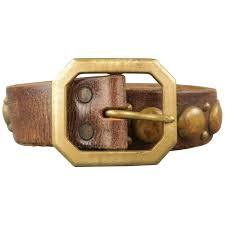 rrl by ralph lauren size 38 brown studded distressed leather belt