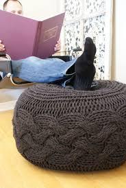 Cable Knit Pouf Ottoman