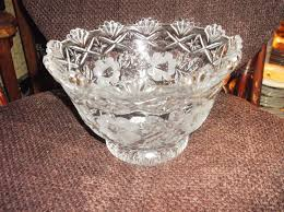 large heavy lead glass footed bowl deep dish opaque flowers pretty rim 2 35kg