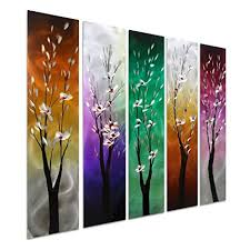 pure art trees through the seasons contemporary colourful metal wall art purple green yellow on contemporary square metal wall art with amazon pure art trees through the seasons contemporary