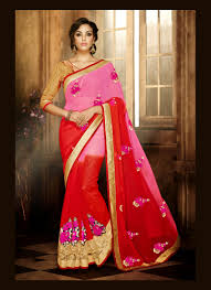 Designer Patches For Sarees Princely Pink And Red Patch Border Work Designer Saree