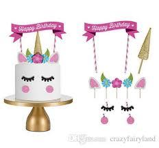 2019 Unicorn Cake Toppers Unicornio Horn Ears Cake Decorations