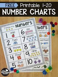 Number 1 In Charts This Week Printable Number Chart For Numbers 1 20 Numbers Preschool