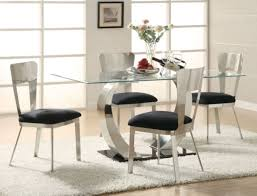 Set White Glass Top Oval Chair Round Kitchen For Licious Black