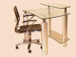 dazzling modern glass computer desk and black roller chair set